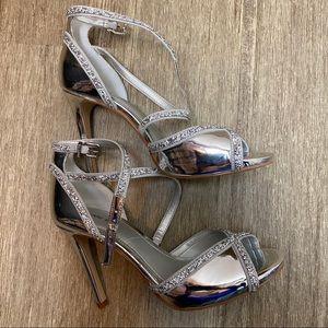 Gianni Bini Silver Open Toe Heel/Closed Back